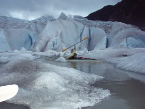 The kayaking is great...this picture happens to be our buddy John at the Mendenhall Glacier.