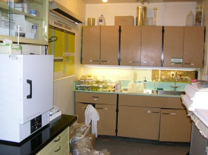 "This is the so-called ""wet lab"" with the lab oven, scale, main sinks and some PEG experiments on the counter."