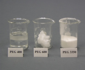 Low mw PEG is a liquid, and high mw PEG is a solid powder