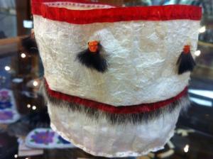 Beautiful gutskin basket by Elaine Kingeekuk for sale in the Sheldon Jackson Museum gift shop in Sitka, Alaska