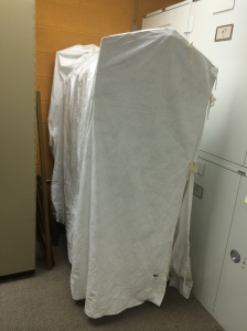 Tyvek shroud over a garment rack, made on a sewing machine.