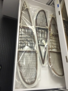 Snowshoes are bagged in pairs with foam padding between them.