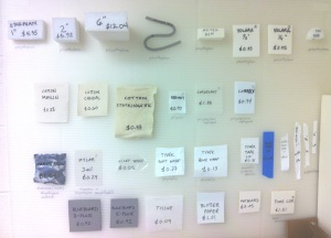 Our supplies board helps interns and volunteers recognize various materials and how much they cost per square foot.