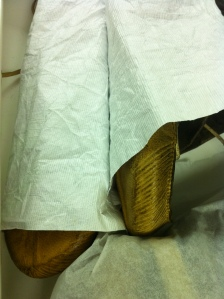 Tyvek in between skin boots to prevent abrasion.