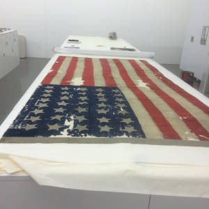 This important flag was thought to fly over Sitka during the transfer ceremony between the Russians and the Americans in 1867. ASM III-O-495