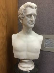 This bust of William Seward by Chauncey Bradley Ives has long been in the entry to the Alaska State Library's Historical Collection, but will now help interpret Alaska's political history.  The stone is shockingly grimy.