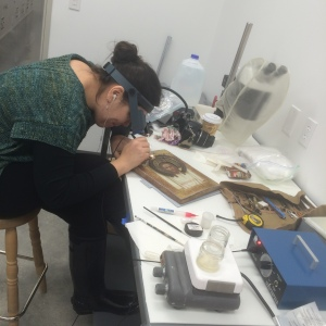 Several of our Russian Orthodox icons had loose and flaking paint, expertly stabilized on site during a visit by paintings conservator Gwen Manthey.