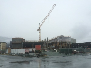 Here is the site of the new building as it looks on a rainy Thursday, March 5, 2015.  The weather may at times be that lousy this summer, but hopefully there will be sunny days, too.