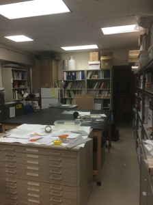 This is the front section of my temporary lab space.  It is an alternately exploding and collapsing universe of clutter.  It will be tidier when interns come...for a while.