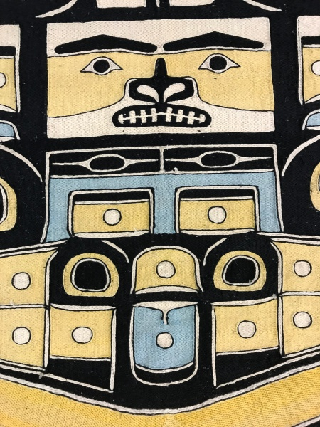 shows detail of a Chilkat robe