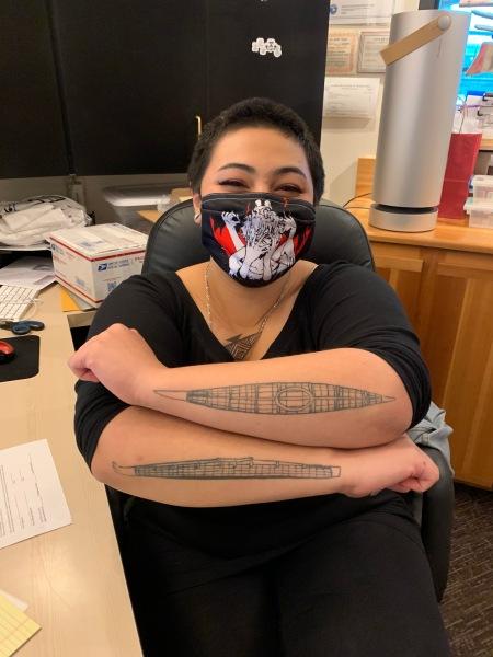 Spectacular tattoos on Alyssa Madrid in Kodiak
