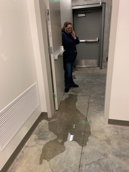 Storm leak under the door.
